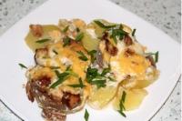 Язык запеченный с картофелем и грибами